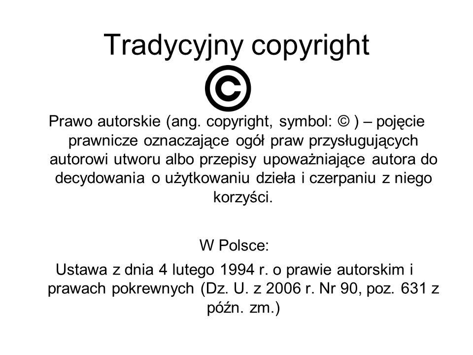 Tradycyjny copyright Prawo autorskie (ang. copyright, symbol: © ) – pojęcie prawnicze oznaczające ogół praw przysługujących autorowi utworu albo przep