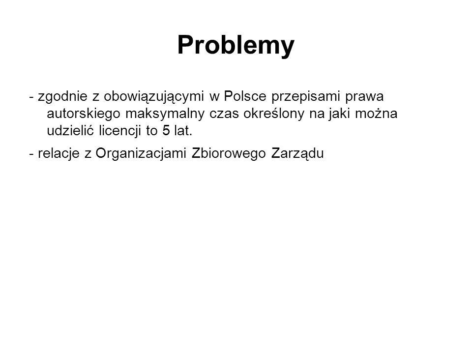 Problemy - zgodnie z obowiązującymi w Polsce przepisami prawa autorskiego maksymalny czas określony na jaki można udzielić licencji to 5 lat. - relacj