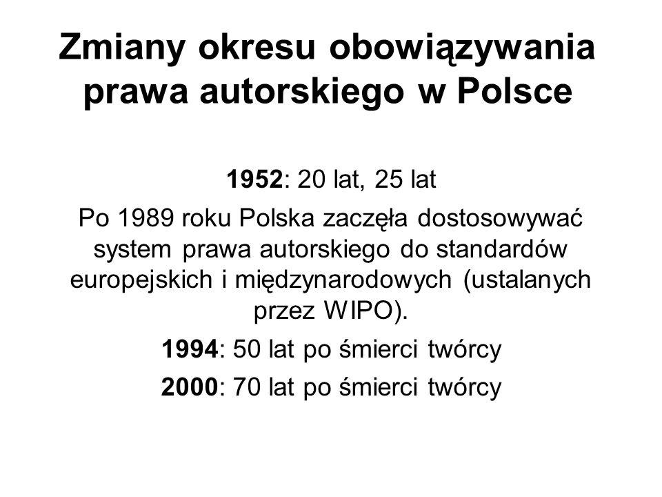 Zmiany okresu obowiązywania prawa autorskiego w Polsce 1952: 20 lat, 25 lat Po 1989 roku Polska zaczęła dostosowywać system prawa autorskiego do stand