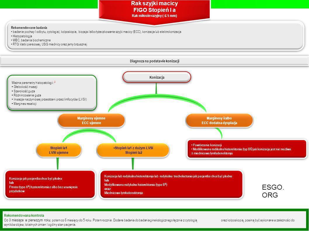 Diagnoza na podstawie konizacji Rekomendowane badania badanie pochwy I odbytu, cytologia), kolposkopia, biopsja i/albo łyżeczkowanie szyjki macicy (EC