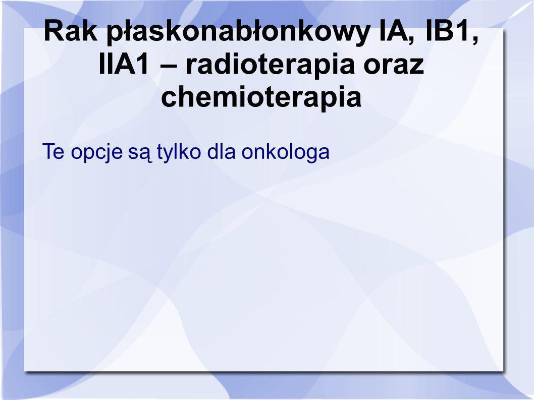Rak płaskonabłonkowy IA, IB1, IIA1 – radioterapia oraz chemioterapia Te opcje są tylko dla onkologa