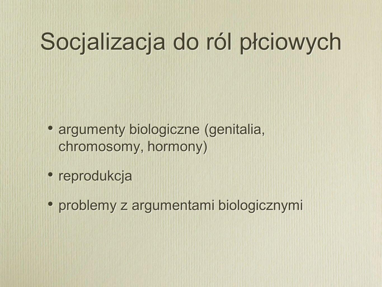 Socjalizacja do ról płciowych argumenty biologiczne (genitalia, chromosomy, hormony) reprodukcja problemy z argumentami biologicznymi argumenty biolog