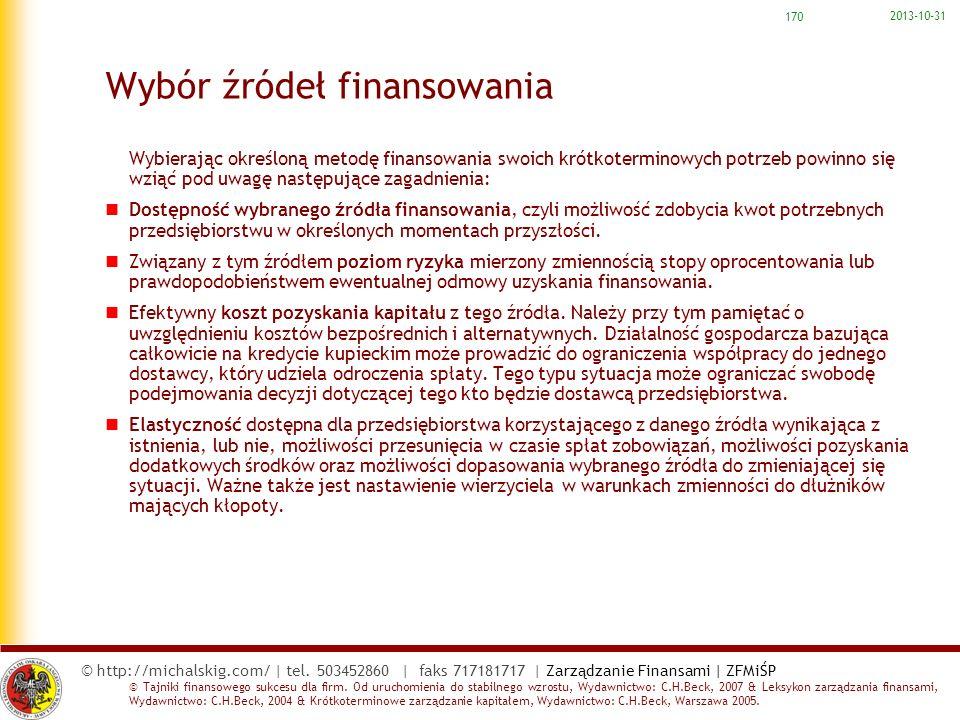 © http://michalskig.com/   tel. 503452860   faks 717181717   Zarządzanie Finansami   ZFMiŚP © Tajniki finansowego sukcesu dla firm. Od uruchomienia do