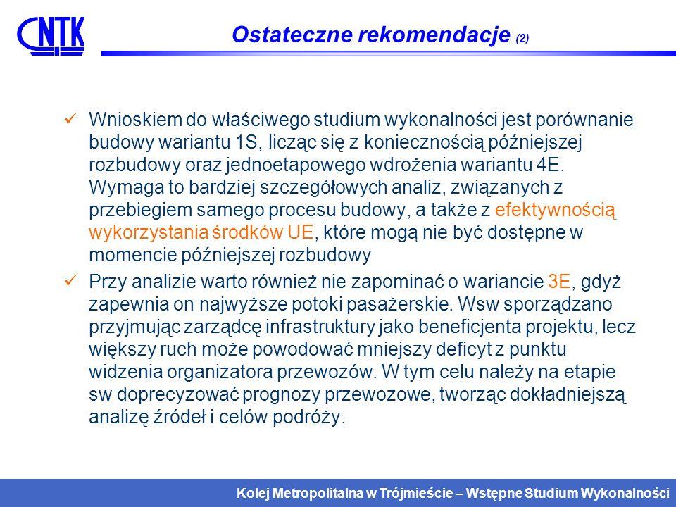 Kolej Metropolitalna w Trójmieście – Wstępne Studium Wykonalności Co dalej.