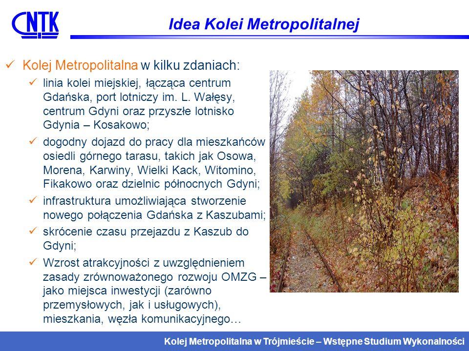 Kolej Metropolitalna w Trójmieście – Wstępne Studium Wykonalności Kolej Metropolitalna, a system transportowy Trójmiasta i Pomorza Kolorem żółtym oznaczono linię Kolei Metropolitalnej, zielonym – potencjalne połączenia wykorzystujące również inne linie sieci PLK Dodatkowo możliwe są połączenia z Gdańska i Gdyni do Chojnic (przez Kościerzynę, Lipusz)