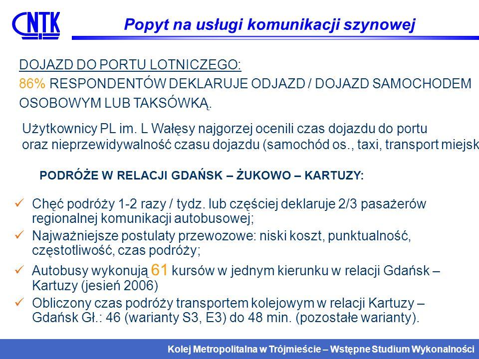 Kolej Metropolitalna w Trójmieście – Wstępne Studium Wykonalności Oferta kolei Metropolitalnej pociągi aglomeracyjne Gdańsk Główny – PL im.