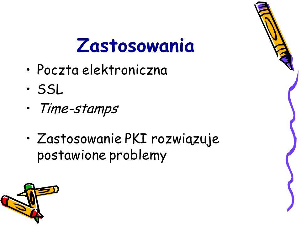 Zastosowania Poczta elektroniczna SSL Time-stamps Zastosowanie PKI rozwiązuje postawione problemy