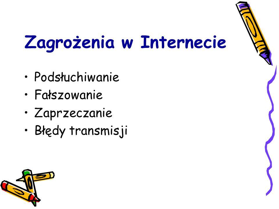 Zagrożenia w Internecie Podsłuchiwanie Fałszowanie Zaprzeczanie Błędy transmisji