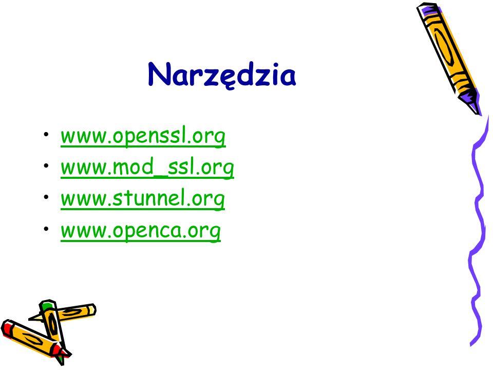 Narzędzia www.openssl.org www.mod_ssl.org www.stunnel.org www.openca.org