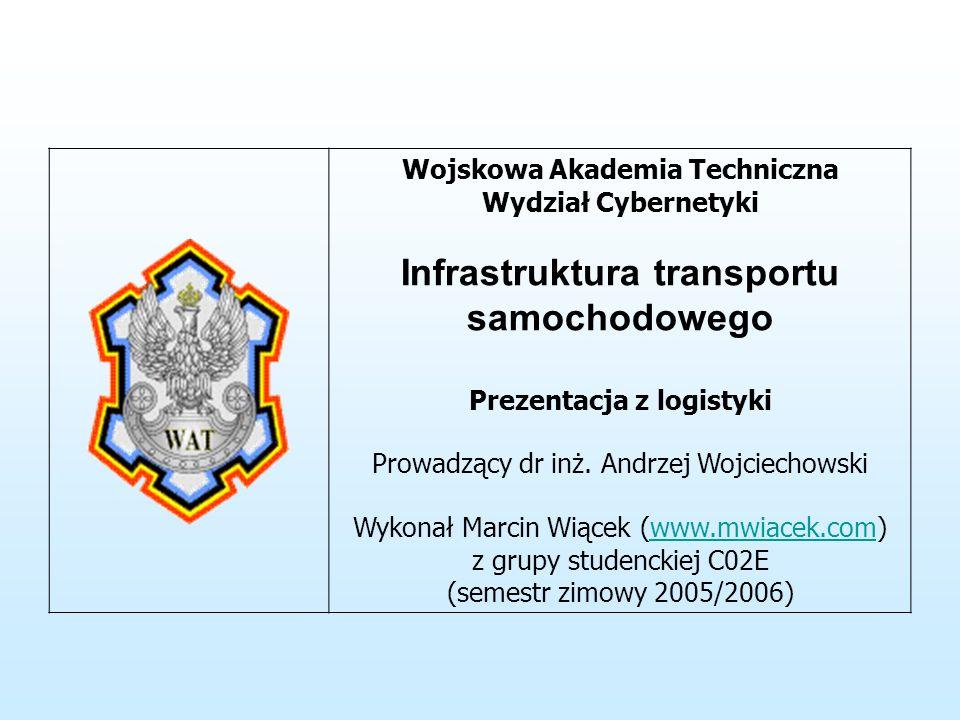 Wojskowa Akademia Techniczna Wydział Cybernetyki Infrastruktura transportu samochodowego Prezentacja z logistyki Prowadzący dr inż.