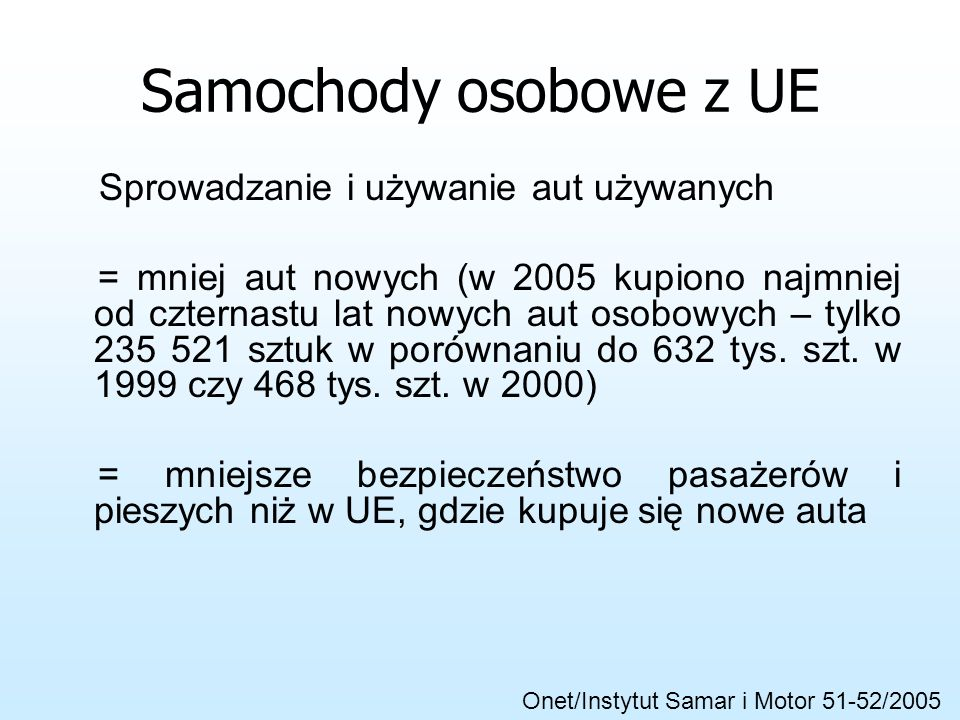 Samochody osobowe z UE Więcej samochodów = większe zużycie nawierzchni = większe korki Wiele aut w lepszym stanie niż wcześniej używane (Polonezy, Mal