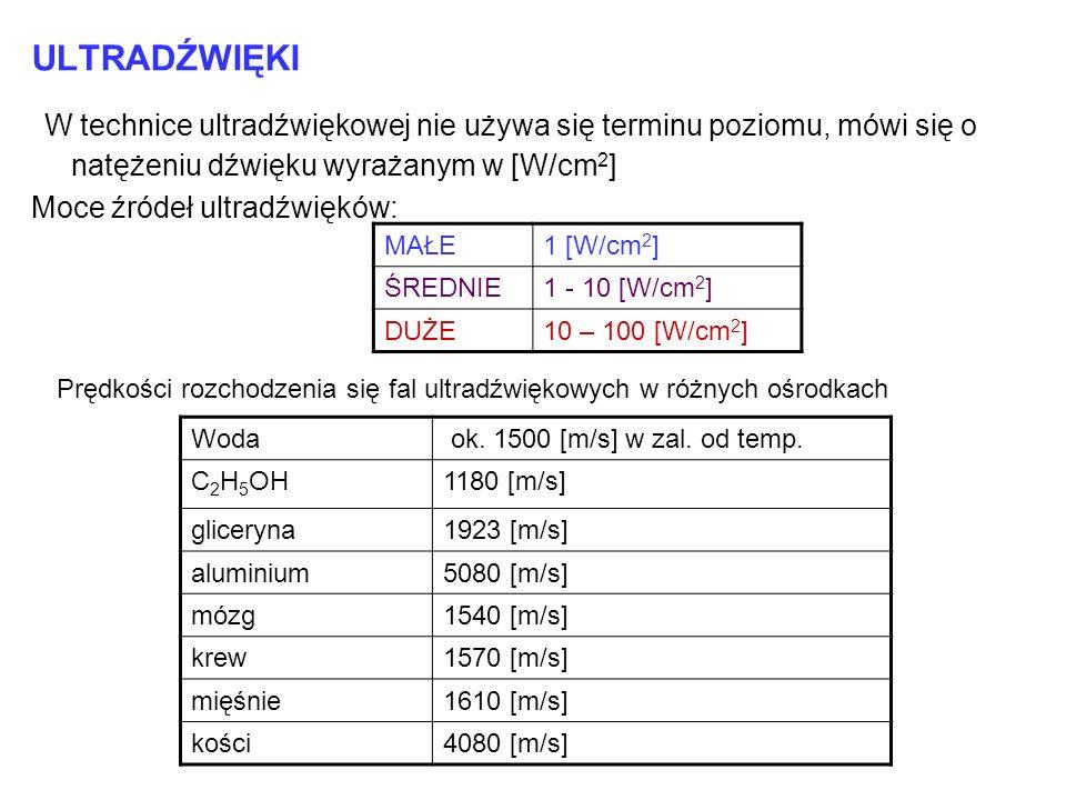 ULTRADŹWIĘKI W technice ultradźwiękowej nie używa się terminu poziomu, mówi się o natężeniu dźwięku wyrażanym w [W/cm 2 ] Moce źródeł ultradźwięków: M