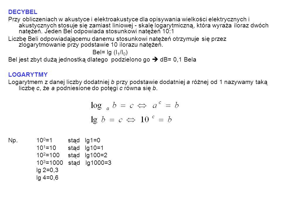 DECYBEL Przy obliczeniach w akustyce i elektroakustyce dla opisywania wielkości elektrycznych i akustycznych stosuje się zamiast liniowej - skalę loga