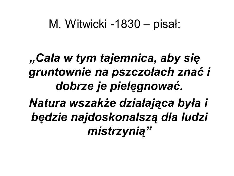 M. Witwicki -1830 – pisał: Cała w tym tajemnica, aby się gruntownie na pszczołach znać i dobrze je pielęgnować. Natura wszakże działająca była i będzi