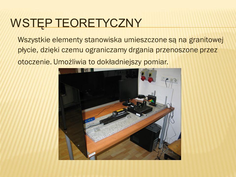 WSTĘP TEORETYCZNY Wszystkie elementy stanowiska umieszczone są na granitowej płycie, dzięki czemu ograniczamy drgania przenoszone przez otoczenie. Umo