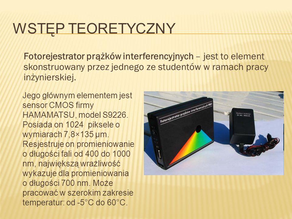 WSTĘP TEORETYCZNY Fotorejestrator prążków interferencyjnych – jest to element skonstruowany przez jednego ze studentów w ramach pracy inżynierskiej. J