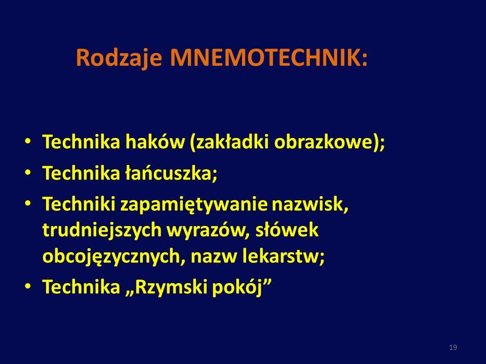 Rodzaje MNEMOTECHNIK: Technika haków (zakładki obrazkowe); Technika łańcuszka; Techniki zapamiętywanie nazwisk, trudniejszych wyrazów, słówek obcojęzy