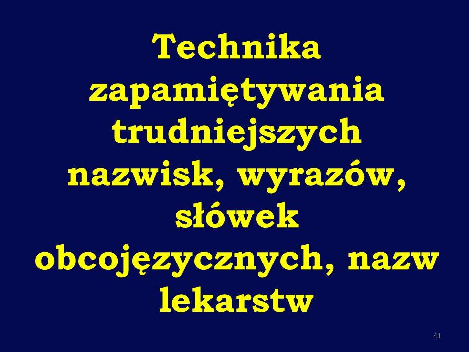 Technika zapamiętywania trudniejszych nazwisk, wyrazów, słówek obcojęzycznych, nazw lekarstw 41