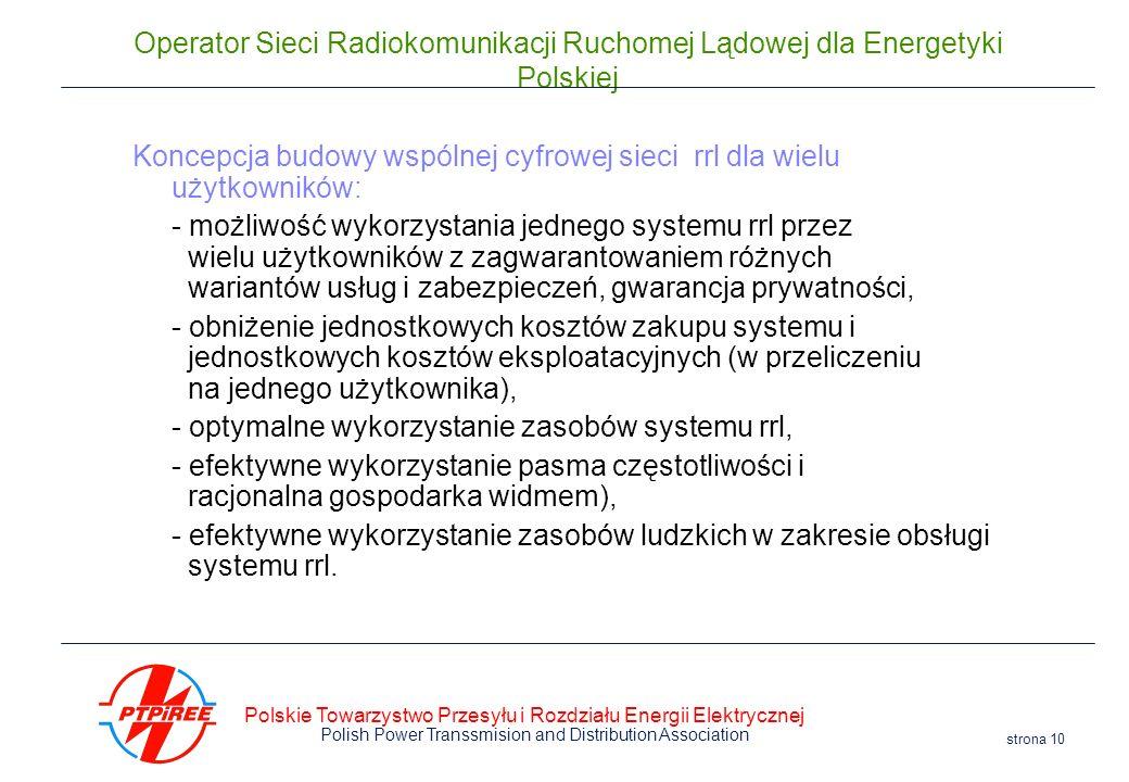 Polskie Towarzystwo Przesyłu i Rozdziału Energii Elektrycznej Polish Power Transsmision and Distribution Association strona 10 Operator Sieci Radiokom