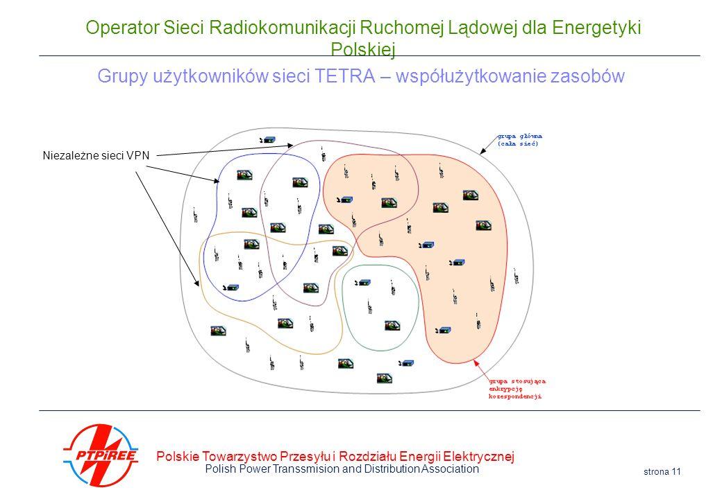 Polskie Towarzystwo Przesyłu i Rozdziału Energii Elektrycznej Polish Power Transsmision and Distribution Association strona 11 Operator Sieci Radiokom