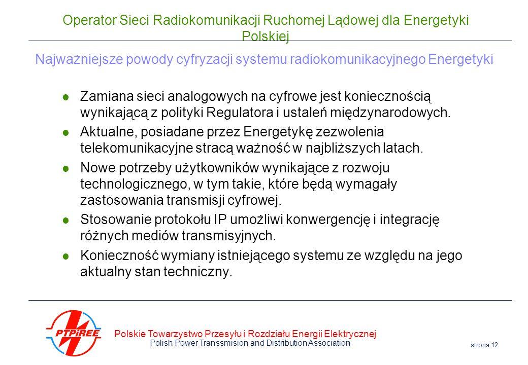 Polskie Towarzystwo Przesyłu i Rozdziału Energii Elektrycznej Polish Power Transsmision and Distribution Association strona 12 Operator Sieci Radiokom