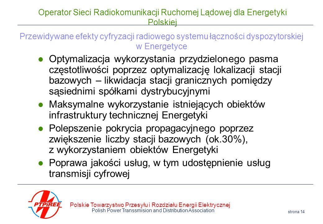 Polskie Towarzystwo Przesyłu i Rozdziału Energii Elektrycznej Polish Power Transsmision and Distribution Association strona 14 Operator Sieci Radiokom