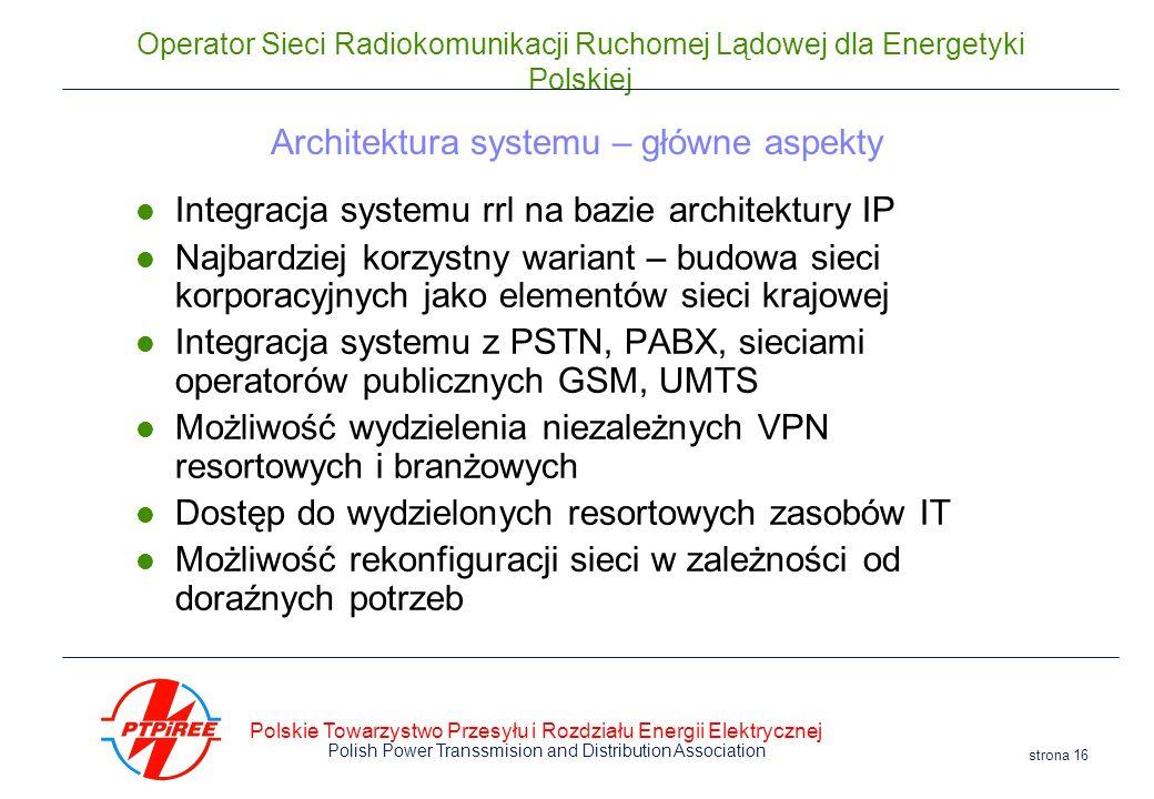Polskie Towarzystwo Przesyłu i Rozdziału Energii Elektrycznej Polish Power Transsmision and Distribution Association strona 16 Operator Sieci Radiokom