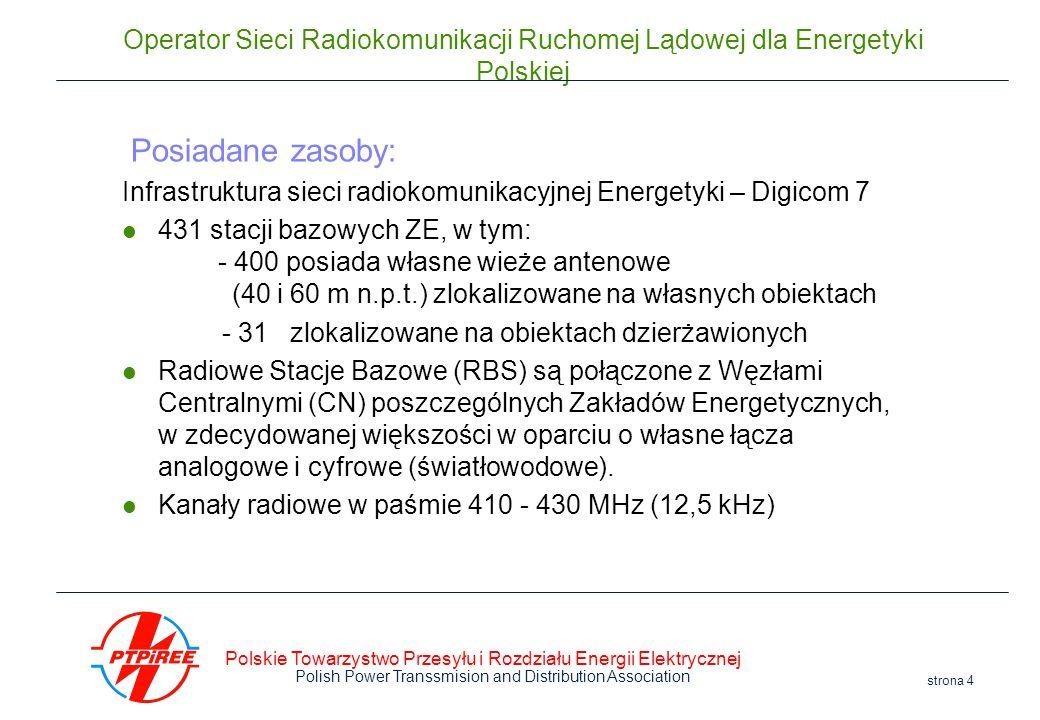 Polskie Towarzystwo Przesyłu i Rozdziału Energii Elektrycznej Polish Power Transsmision and Distribution Association strona 4 Operator Sieci Radiokomu