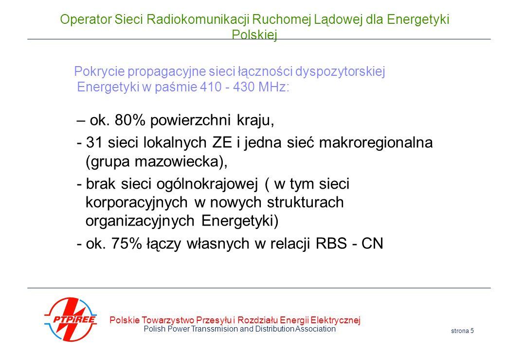 Polskie Towarzystwo Przesyłu i Rozdziału Energii Elektrycznej Polish Power Transsmision and Distribution Association strona 5 Operator Sieci Radiokomu