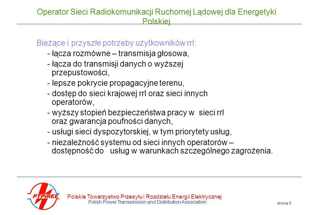 Polskie Towarzystwo Przesyłu i Rozdziału Energii Elektrycznej Polish Power Transsmision and Distribution Association strona 9 Operator Sieci Radiokomu