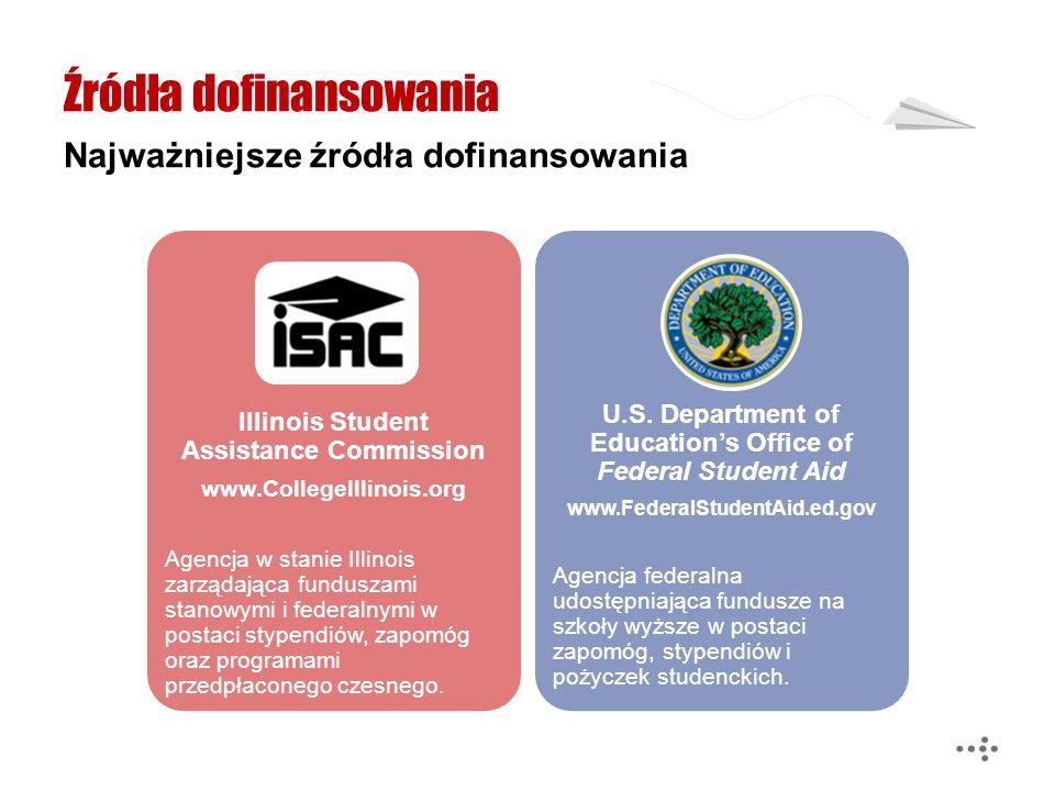 Źródła dofinansowania Najważniejsze źródła dofinansowania Illinois Student Assistance Commission www.CollegeIllinois.org Agencja w stanie Illinois zar
