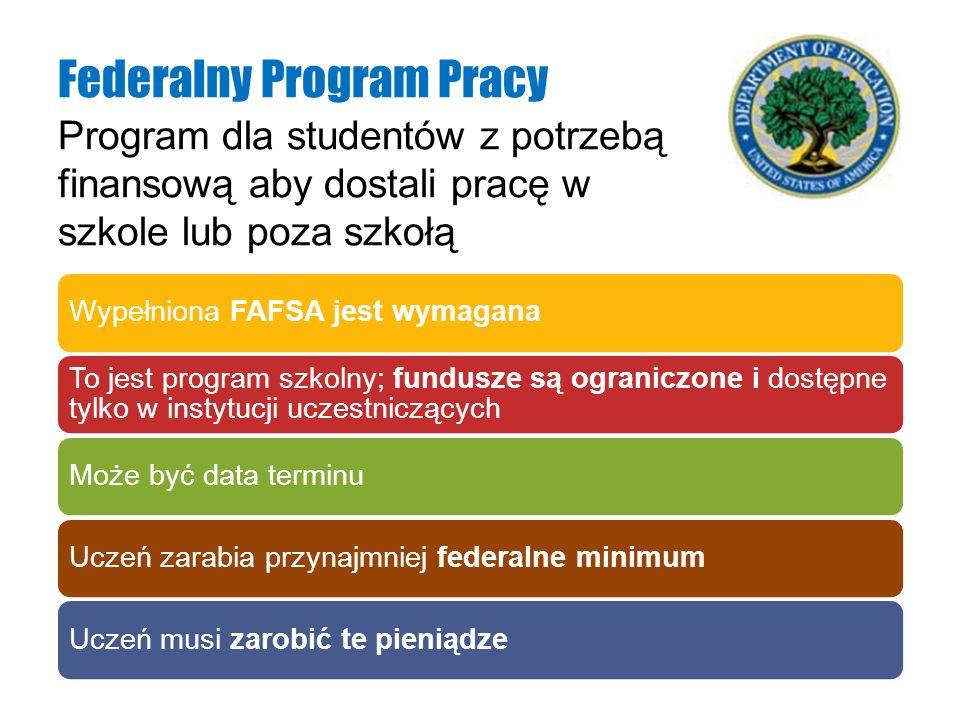 Program dla studentów z potrzebą finansową aby dostali pracę w szkole lub poza szkołą Federalny Program Pracy Wypełniona FAFSA jest wymagana To jest p