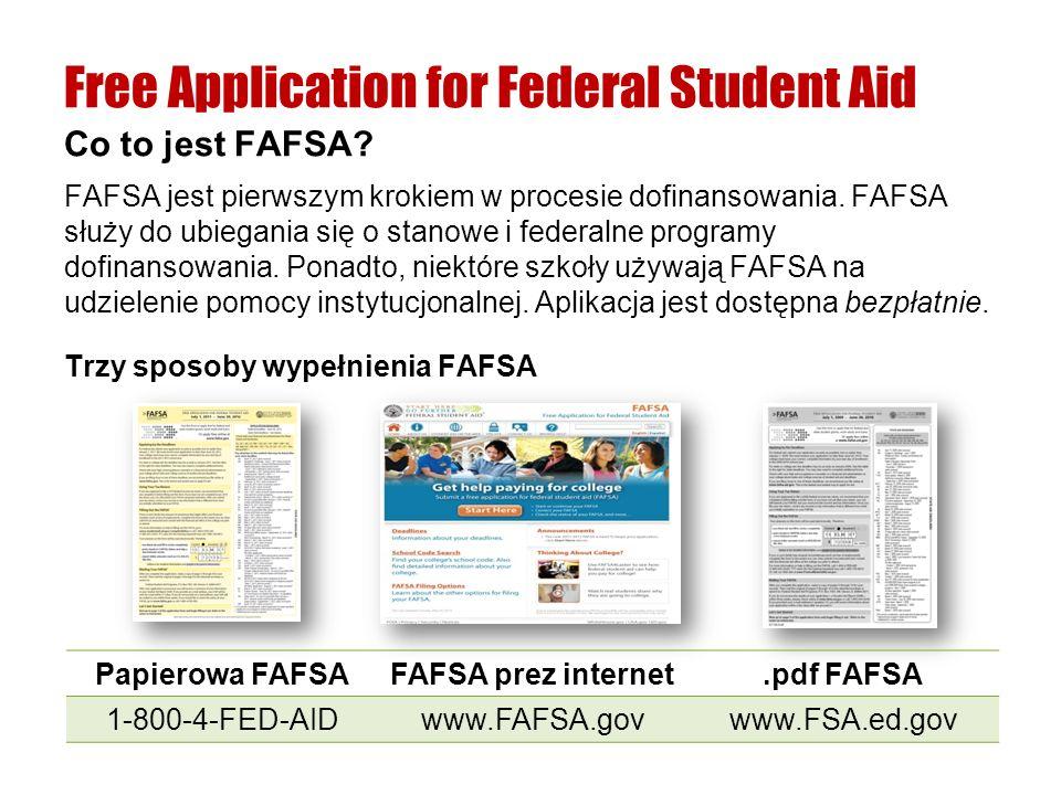 FAFSA jest pierwszym krokiem w procesie dofinansowania. FAFSA służy do ubiegania się o stanowe i federalne programy dofinansowania. Ponadto, niektóre