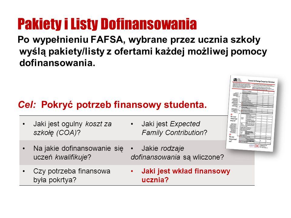 Po wypełnieniu FAFSA, wybrane przez ucznia szkoły wyślą pakiety/listy z ofertami każdej możliwej pomocy dofinansowania. Cel: Pokryć potrzeb finansowy