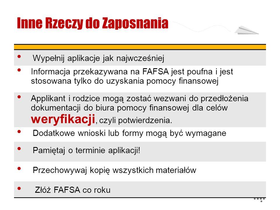 Inne Rzeczy do Zaposnania Wypełnij aplikacje jak najwcześniej Informacja przekazywana na FAFSA jest poufna i jest stosowana tylko do uzyskania pomocy