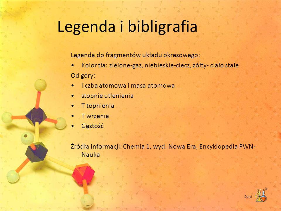 Legenda i bibligrafia Legenda do fragmentów układu okresowego: Kolor tła: zielone-gaz, niebieskie-ciecz, żółty- ciało stałe Od góry: liczba atomowa i