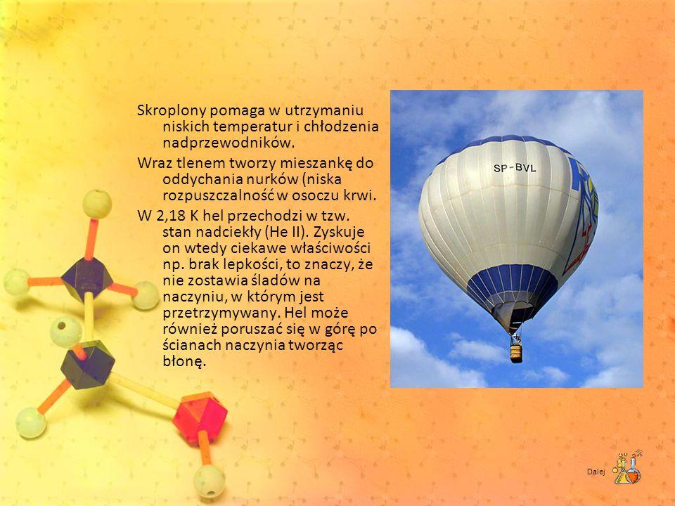 Skroplony pomaga w utrzymaniu niskich temperatur i chłodzenia nadprzewodników. Wraz tlenem tworzy mieszankę do oddychania nurków (niska rozpuszczalnoś