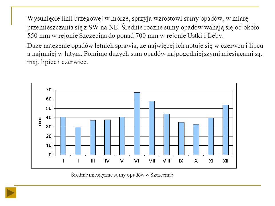 Klimat Klimat nad Bałtykiem jest łagodniejszy niż w głębi kraju. Zimy są cieplejsze a lata chłodniejsze. Chłodniej niż w pozostałej części kraju jest