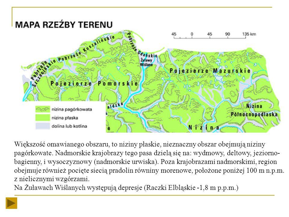 Krajobraz Pas pobrzeży z mierzejami, odgrodzonymi zatokami, płytkimi zalewami i piaszczystymi plażami, rozciąga się od Zalewu Szczecińskiego na zachod