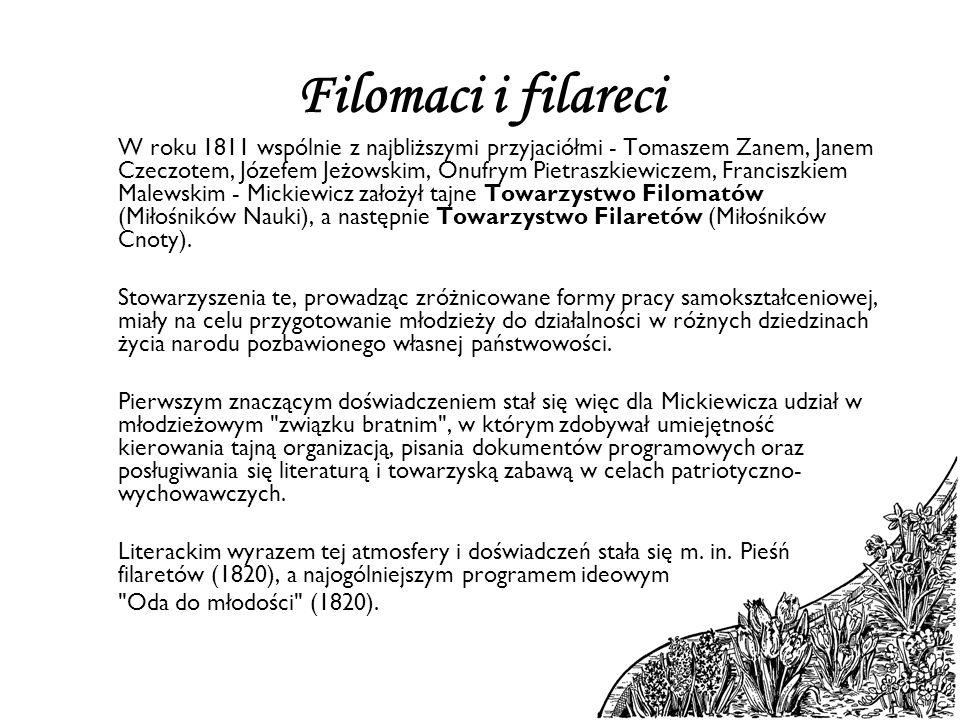 Filomaci i filareci W roku 1811 wspólnie z najbliższymi przyjaciółmi - Tomaszem Zanem, Janem Czeczotem, Józefem Jeżowskim, Onufrym Pietraszkiewiczem,