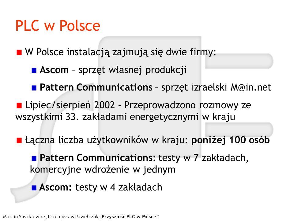 PLC w Polsce Marcin Suszkiewicz, Przemysław Pawełczak Przyszłość PLC w Polsce W Polsce instalacją zajmują się dwie firmy: Ascom – sprzęt własnej produ