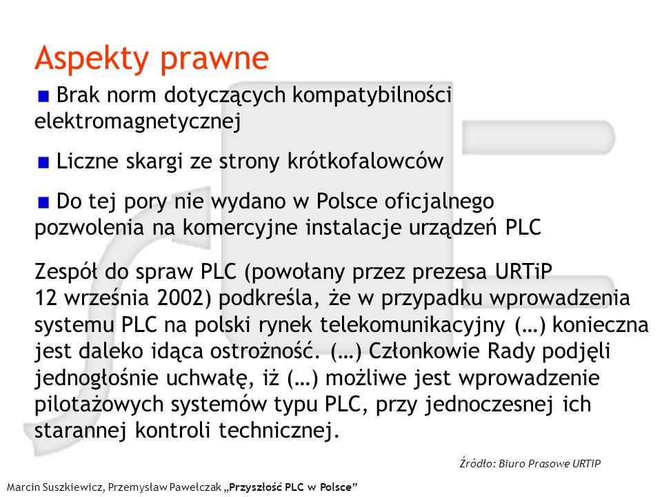 Marcin Suszkiewicz, Przemysław Pawełczak Przyszłość PLC w Polsce Aspekty prawne Brak norm dotyczących kompatybilności elektromagnetycznej Liczne skarg