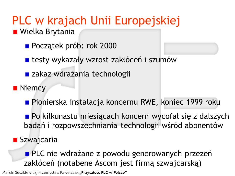 Marcin Suszkiewicz, Przemysław Pawełczak Przyszłość PLC w Polsce PLC w krajach Unii Europejskiej Wielka Brytania Początek prób: rok 2000 testy wykazał