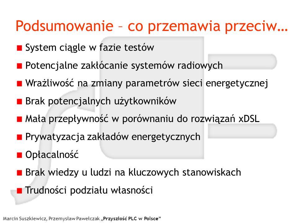 Marcin Suszkiewicz, Przemysław Pawełczak Przyszłość PLC w Polsce Podsumowanie – co przemawia przeciw… System ciągle w fazie testów Potencjalne zakłóca