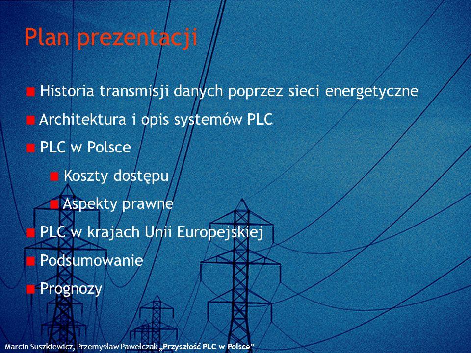 Plan prezentacji Marcin Suszkiewicz, Przemysław Pawełczak Przyszłość PLC w Polsce Historia transmisji danych poprzez sieci energetyczne Architektura i