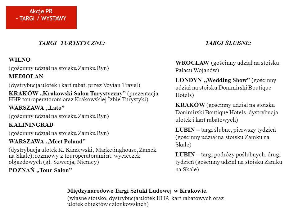 Akcje PR - TARGI / WYSTAWY TARGI TURYSTYCZNE: WILNO (gościnny udział na stoisku Zamku Ryn) MEDIOLAN (dystrybucja ulotek i kart rabat. przez Voytan Tra