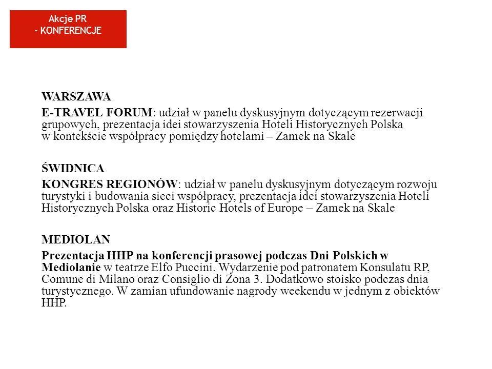 Akcje PR - KONFERENCJE WARSZAWA E-TRAVEL FORUM: udział w panelu dyskusyjnym dotyczącym rezerwacji grupowych, prezentacja idei stowarzyszenia Hoteli Hi