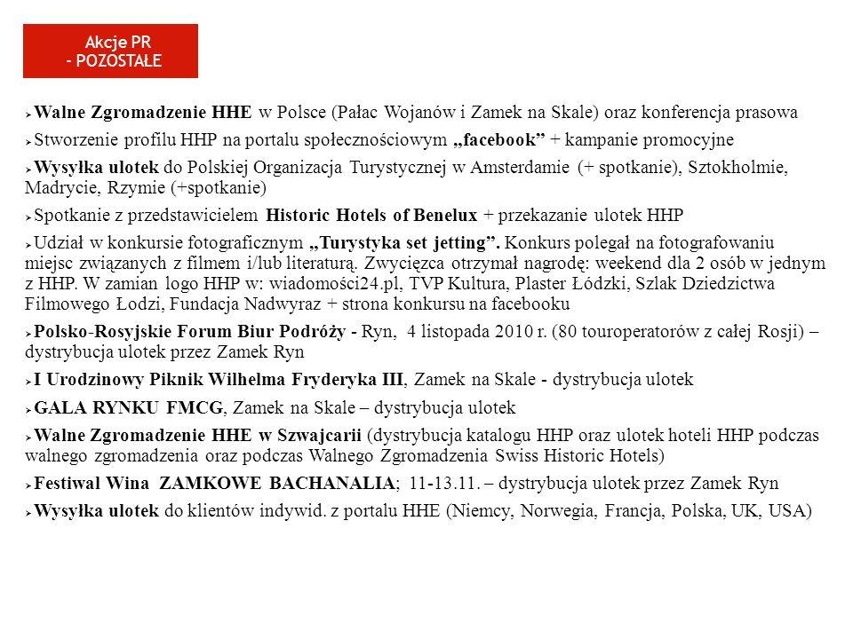 Walne Zgromadzenie HHE w Polsce (Pałac Wojanów i Zamek na Skale) oraz konferencja prasowa Stworzenie profilu HHP na portalu społecznościowym facebook