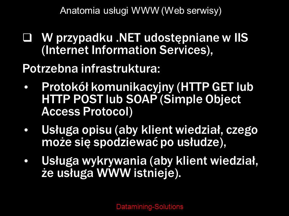 Datamining-Solutions Anatomia usługi WWW (Web serwisy) W przypadku.NET udostępniane w IIS (Internet Information Services), Potrzebna infrastruktura: P