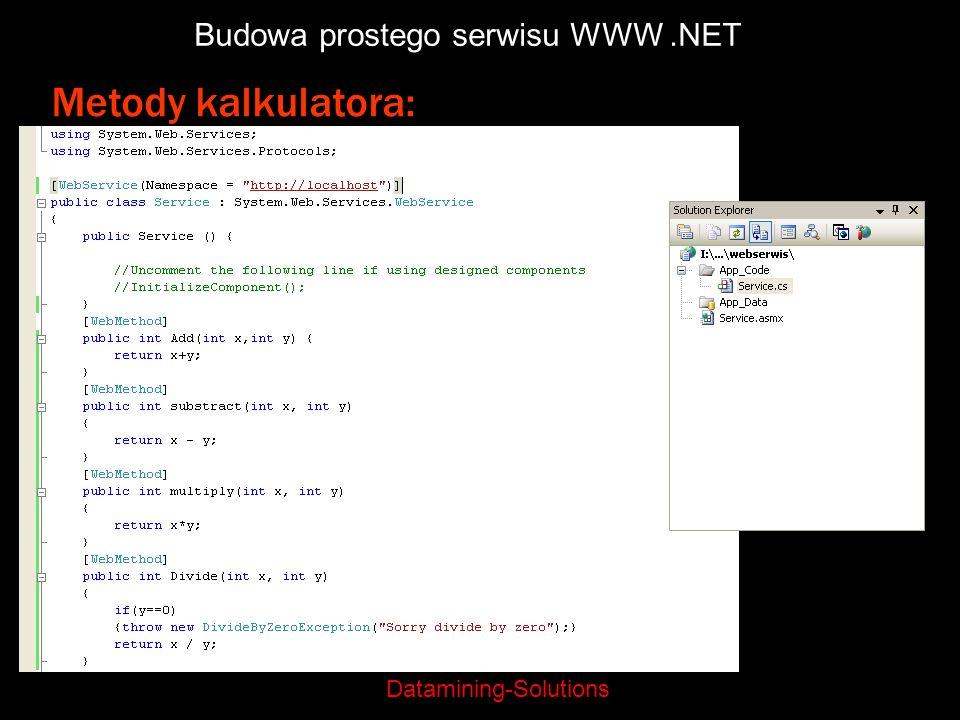 Datamining-Solutions Budowa prostego serwisu WWW.NET Metody kalkulatora: